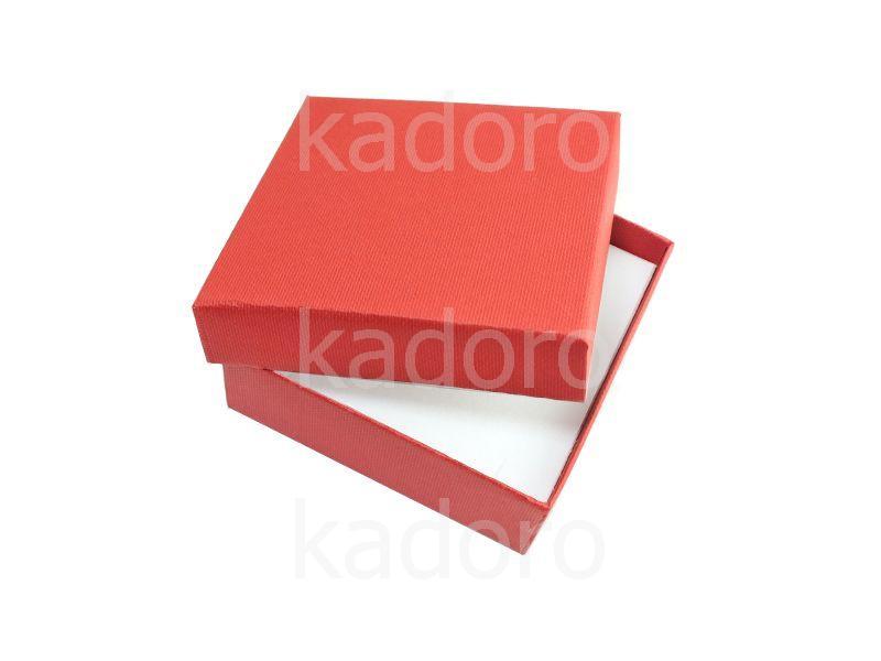 Pudełko z teksturą płótna duże czerwone