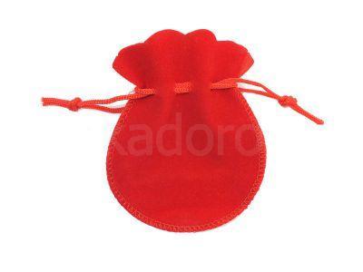 Sakiewka welurowa czerwona mała - 1 sztuka