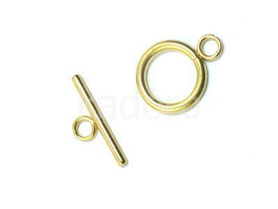 Zapięcie stalowe toggle kółko 14 mm złote - 1 sztuka