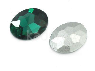 Szklany kamień fasetowany owal 25x18mm Emerald F - 1 sztuka