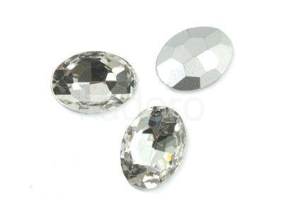 Szklany kamień fasetowany owal 14x10mm Crystal F - 2 sztuki