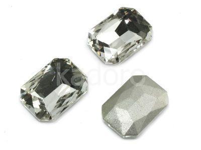 Szklany kamień fasetowany prostokąt 18x13mm Crystal F - 1 sztuka