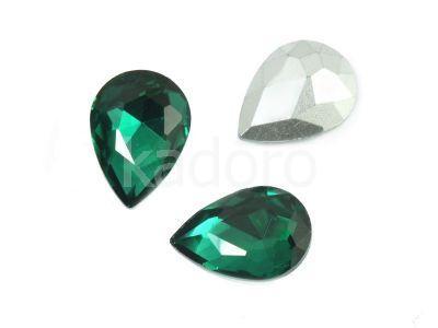 Szklany kamień fasetowany gruszka 14x10mm Emerald F - 2 sztuki
