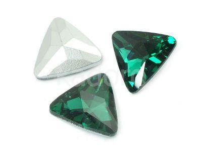 Szklany kamień fasetowany trójkąt Emerald F 18 mm - 1 sztuka