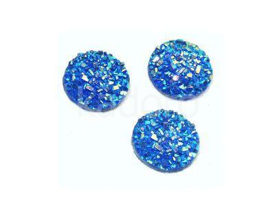 Kaboszon akrylowy druzy niebieski 12 mm - 2 sztuki
