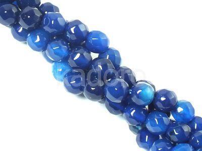 Agat niebieski kula fasetowana 4 mm - sznur 36 cm