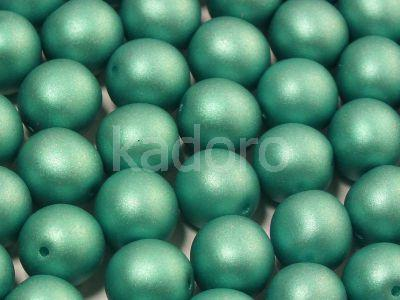 Round Beads Satin Metallic Green Turquoise 10 mm - 6 sztuk