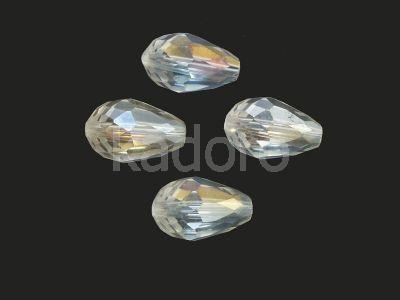 Krople fasetowane 15x10 mm kryształowe opalizujące - 4 sztuki