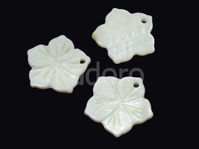Masa perłowa biała zawieszka kwiat 22 mm - 1 sztuka