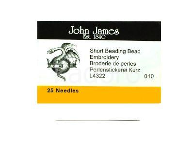 Igły do nawlekania koralików John James 10 krótkie - 25 sztuk