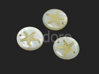 Masa perłowa biała łącznik złota rozgwiazda 20 mm - 1 sztuka
