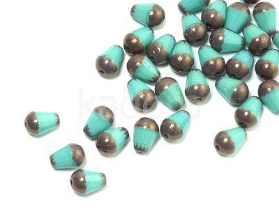 Cut Drop Opaque Turquoise - Dark Bronze 8x6 mm - 6 sztuk