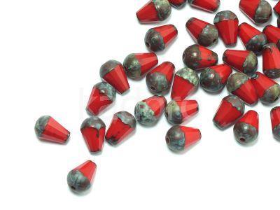 Cut Drop Opaque Red - Travertin 8x6 mm - 6 sztuk