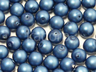 Round Beads Persian Blue Satin Pearl 6 mm - 20 sztuk