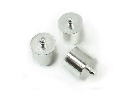 Końcówki do wklejania 14x10 mm kolor srebrny - 2 sztuki