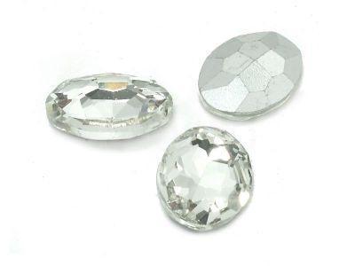 Szklany kamień fasetowany owal 18x13mm Crystal F - 1 sztuka
