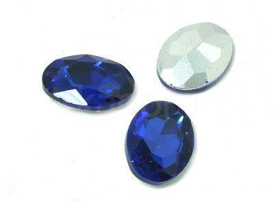Szklany kamień fasetowany owal 18x13mm Cobalt F - 1 sztuka