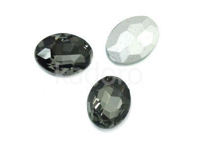 Szklany kamień fasetowany owal 18x13mm Silver Night F - 1 sztuka