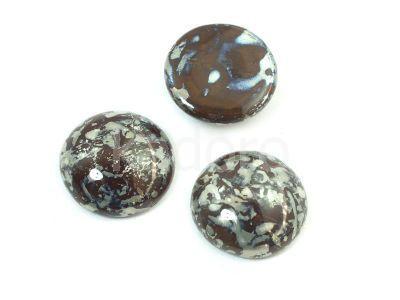 Szklany kaboszon Dark Chocolate - Picasso Silver koło 18mm - 2 sztuki