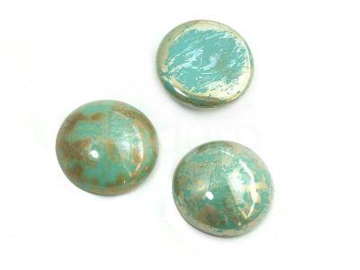 Szklany kaboszon Opaque Turquoise - Picasso Silver koło 18mm - 2 sztuki