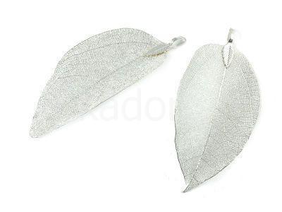 Zawieszka naturalny liść srebrna - 1 sztuka