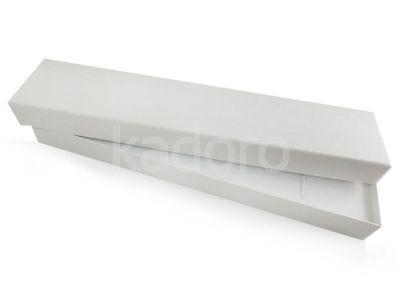 Pudełko z teksturą płótna na bransoletkę śnieżnobiałe