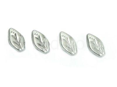 Leaves Matte Metallic Aluminium 10x6mm - 10 sztuk