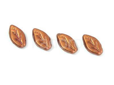 Leaves Matte Metallic Dark Copper 10x6mm - 10 sztuk