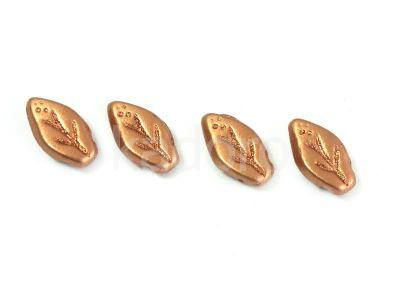 Leaves Matte Metallic Copper 10x6mm - 10 sztuk