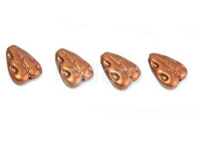 Carved Leaves Matte Metallic Dark Copper 12x7mm - 6 sztuk