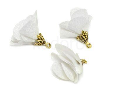 Kwiatek biały 25 mm - 1 sztuka