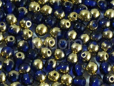 Round Beads Gold 1/2 Coated Dark Sapphire 4 mm - opakowanie