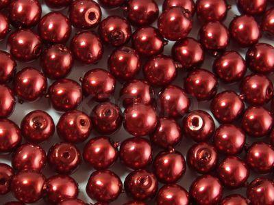 Round Beads Coated Dark Red Pearl 4 mm - opakowanie