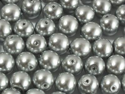 Round Beads Coated Silver Pearl 8 mm - 10 sztuk