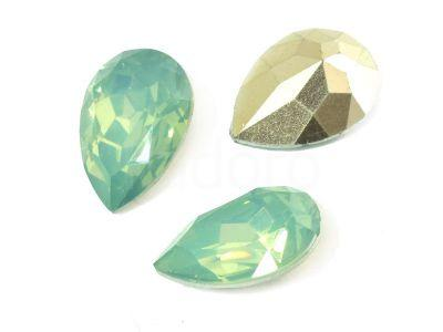 Yem Pear 18x13 mm Green Opal F - 2 sztuki