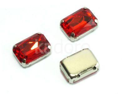 Montees czerwone prostokąt 14x10 mm - 1 sztuka