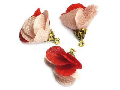 Kwiatek czerwień i pudrowy róż 25 mm - 1 sztuka