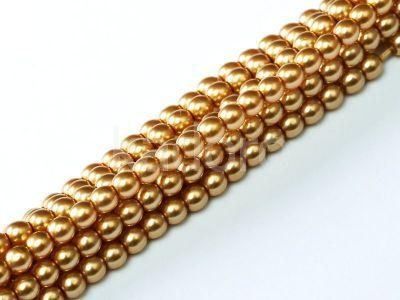 Perełki szklane złote 2 mm - sznur