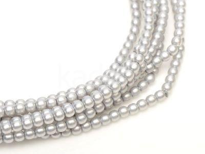 Perełki szklane srebrne satynowe 3 mm - sznur