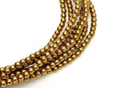 Perełki szklane złotobrązowe 3 mm - sznur
