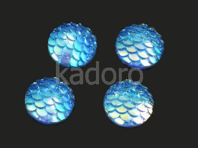 Kaboszon akrylowy rybia łuska niebieski 12 mm - 2 sztuki