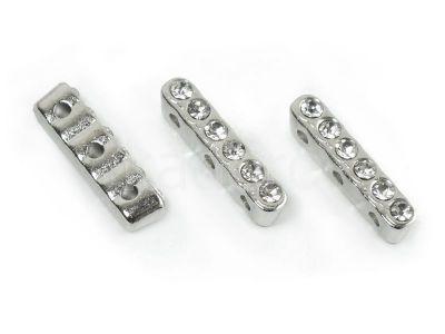 Trzydziurkowa przekładka z kryształkami 20 mm kolor srebrny - 1 sztuka