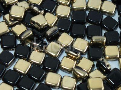 Tile 6mm Gold 1/2 Coated Jet - 20 sztuk