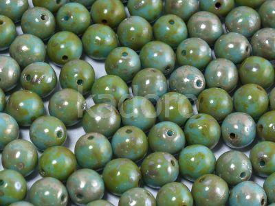 Round Beads Blue Turquoise - Picasso Silver 6 mm - 20 sztuk