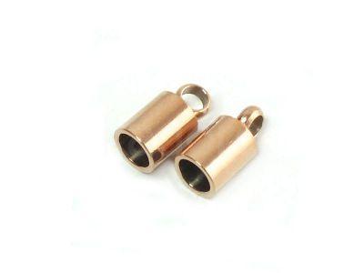 Stalowe końcówki do wklejania 9x5 mm różowe złoto - 2 sztuki