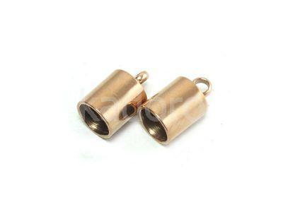 Stalowe końcówki do wklejania 10x6 mm różowe złoto - 2 sztuki
