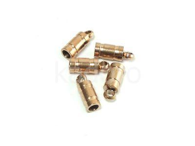 Stalowe ozdobne końcówki do wklejania 8x3 mm różowe złoto - 2 sztuki