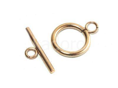Zapięcie stalowe toggle kółko 14 mm różowe złoto - 1 komplet