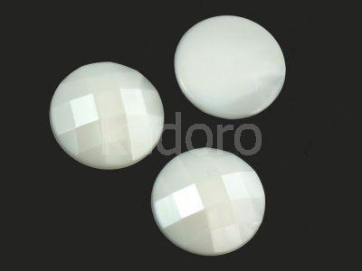 Akrylowe koło fasetowane 20mm perłowa biel - 2 sztuki