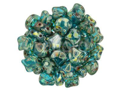 Ginko 7.5x7.5mm Aquamarine Picasso - 10 sztuk